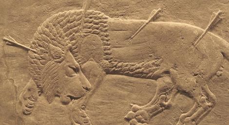 Chasse au lion à Ninive, 645-635 av. J.-C. Domaine public.